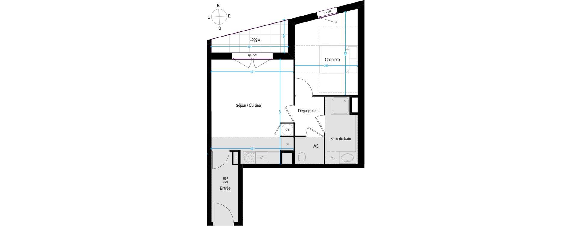 Appartement T2 de 45,15 m2 à Villeurbanne Buers - croix-luizet