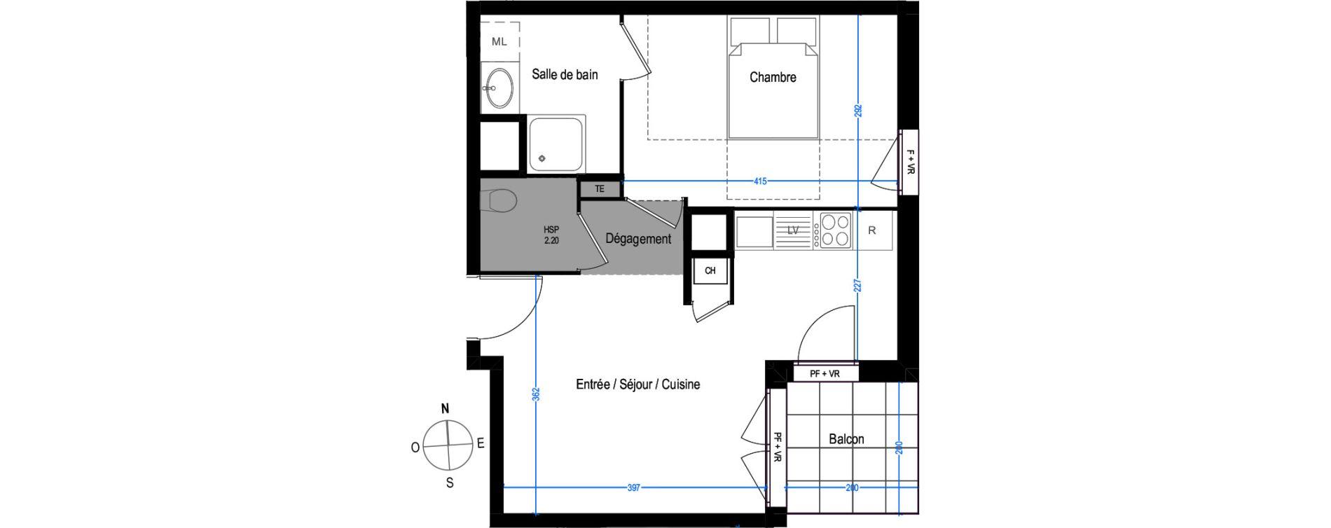 Appartement T2 de 40,41 m2 à Villeurbanne Buers - croix-luizet