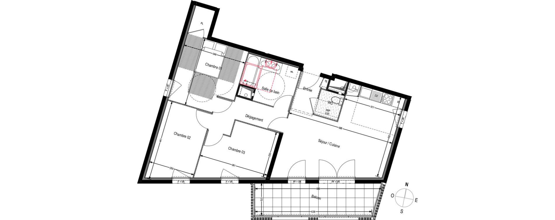 Appartement T4 de 76,88 m2 à Villeurbanne Buers - croix-luizet