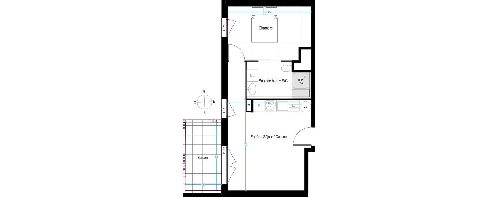 Appartement T2 de 42,35 m2 à Villeurbanne Buers - croix-luizet