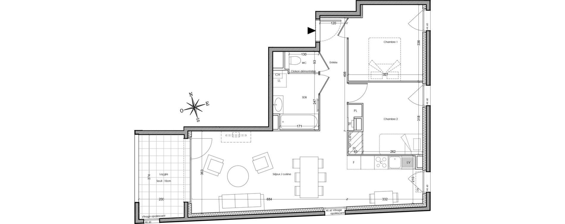 Appartement T3 de 63,40 m2 à Villeurbanne Cusset - bonnevay