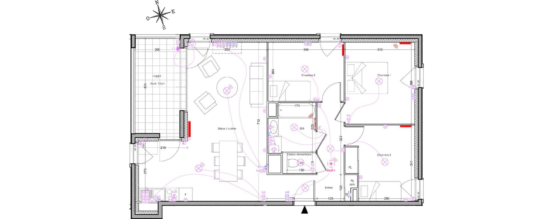 Appartement T4 de 75,30 m2 à Villeurbanne Cusset - bonnevay