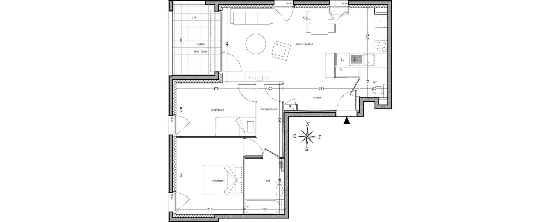Appartement T3 de 61,80 m2 à Villeurbanne Cusset - bonnevay