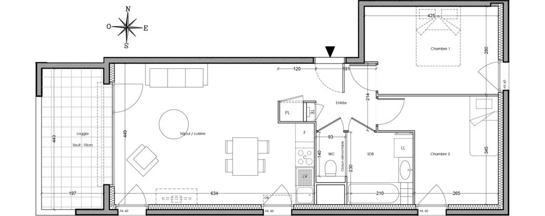 Appartement T3 de 60,30 m2 à Villeurbanne Cusset - bonnevay