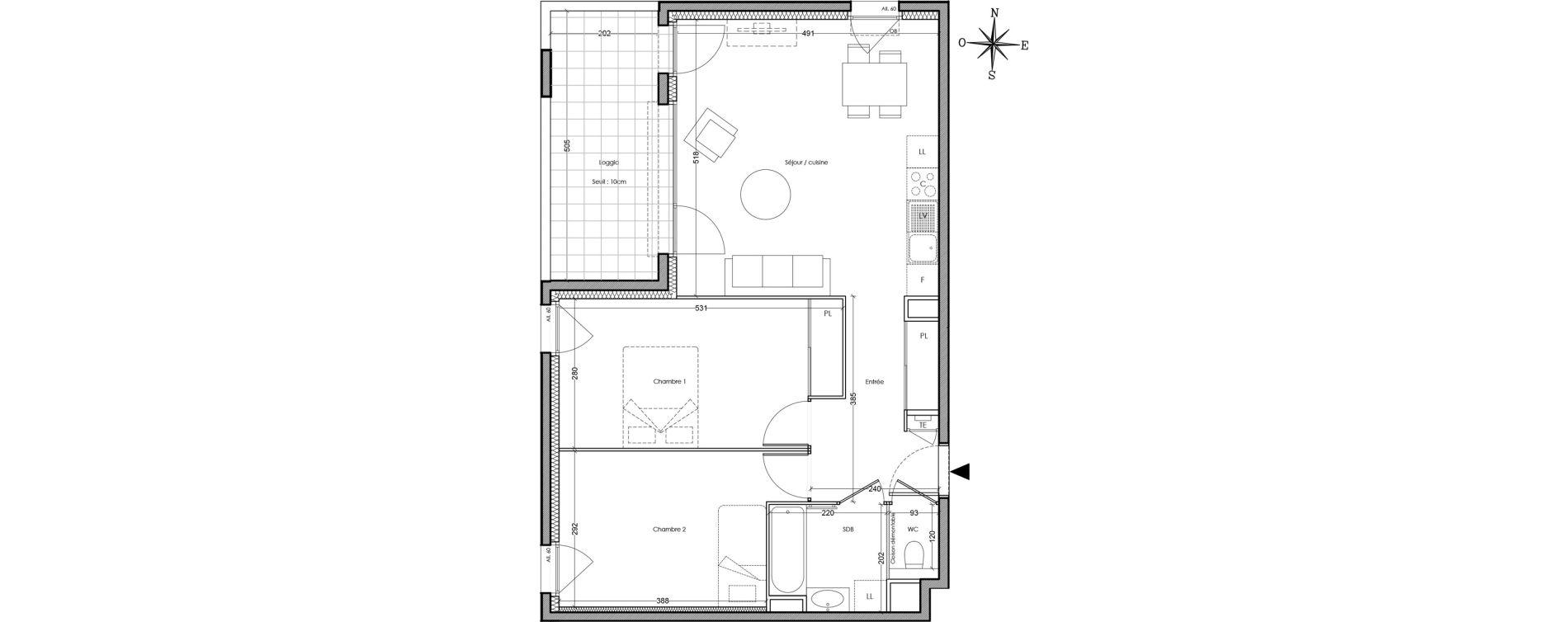 Appartement T3 de 64,40 m2 à Villeurbanne Cusset - bonnevay