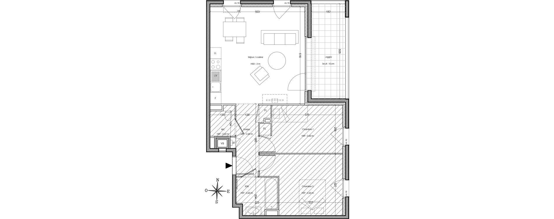 Appartement T3 de 59,80 m2 à Villeurbanne Cusset - bonnevay