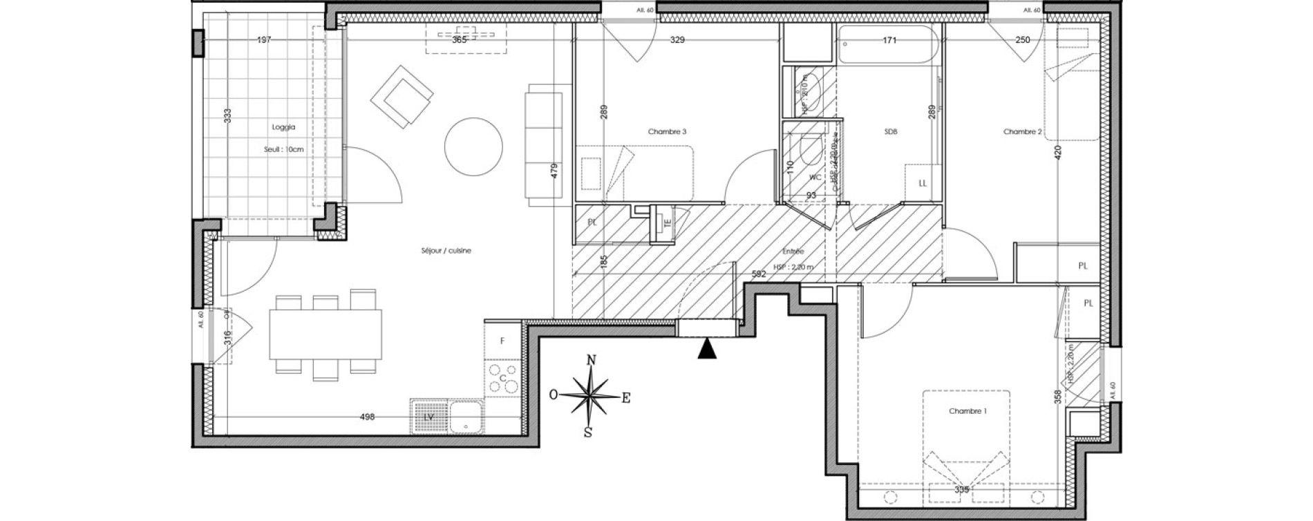 Appartement T4 de 79,00 m2 à Villeurbanne Cusset - bonnevay