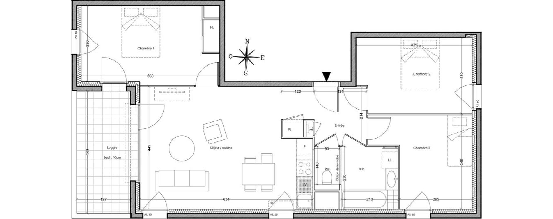 Appartement T4 de 74,50 m2 à Villeurbanne Cusset - bonnevay