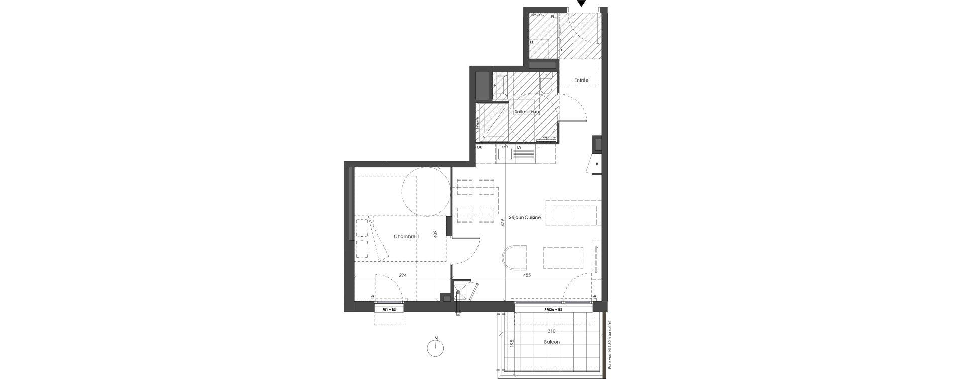 Appartement T2 de 44,06 m2 à Villeurbanne Saint-jean