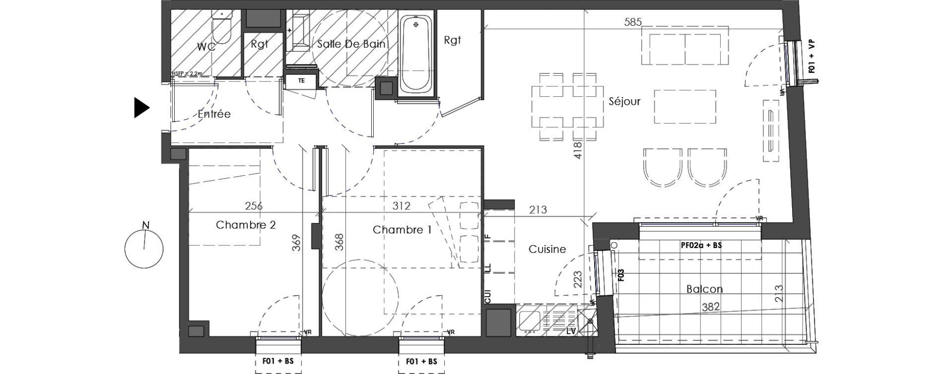 Appartement T3 de 64,91 m2 à Villeurbanne Saint-jean