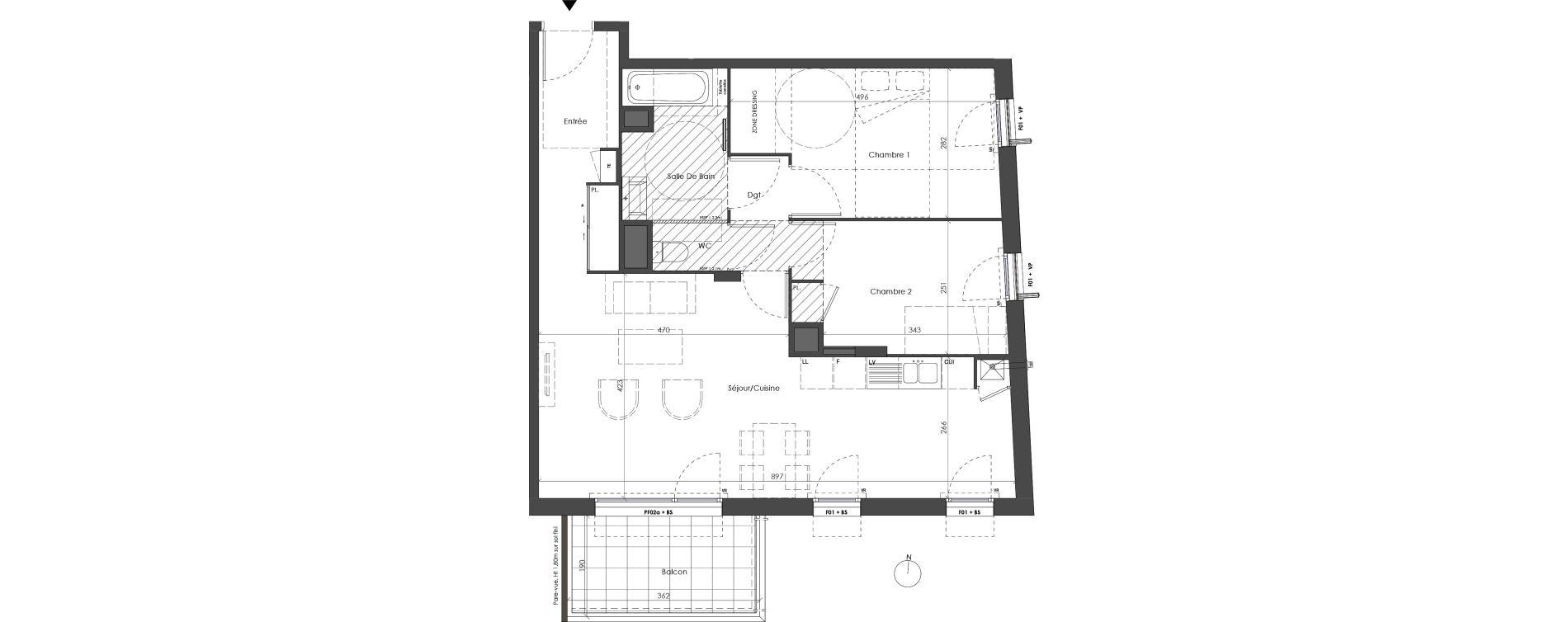 Appartement T3 de 68,92 m2 à Villeurbanne Saint-jean