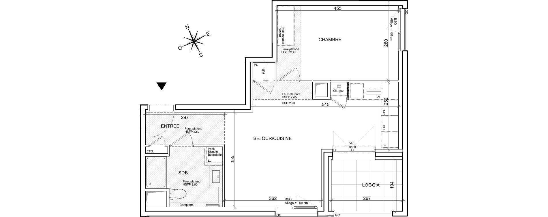 Appartement T2 de 45,41 m2 à Villeurbanne Poudrette les brosses
