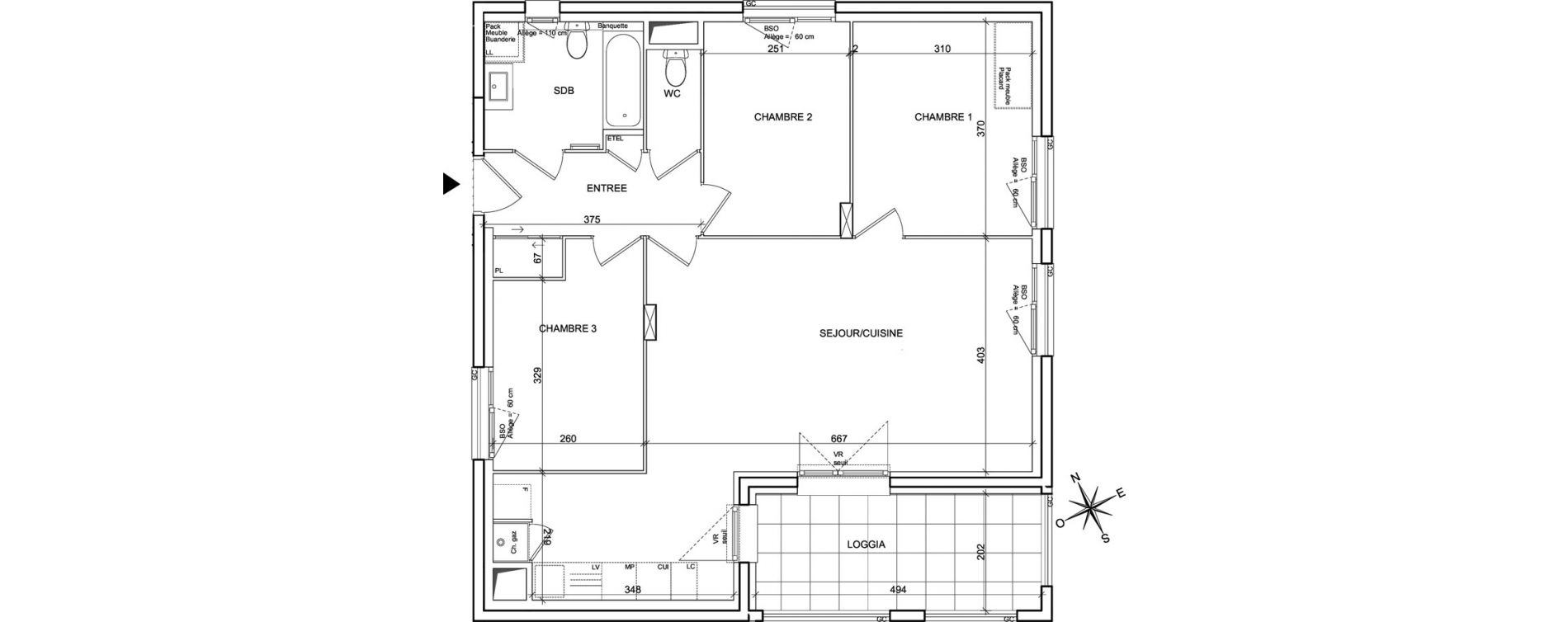 Appartement T4 de 79,68 m2 à Villeurbanne Poudrette les brosses