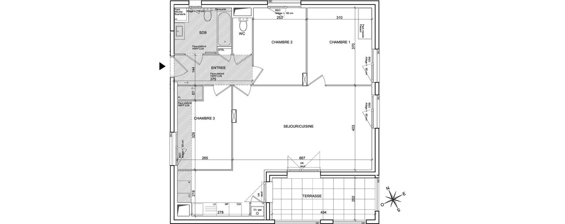 Appartement T4 de 79,67 m2 à Villeurbanne Poudrette les brosses