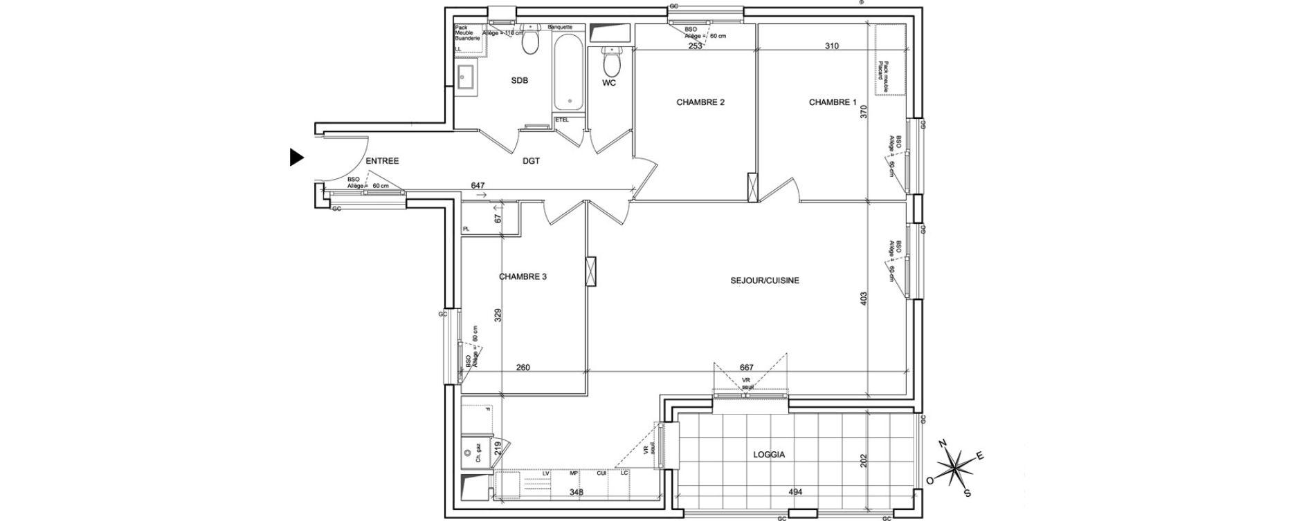 Appartement T4 de 83,09 m2 à Villeurbanne Poudrette les brosses