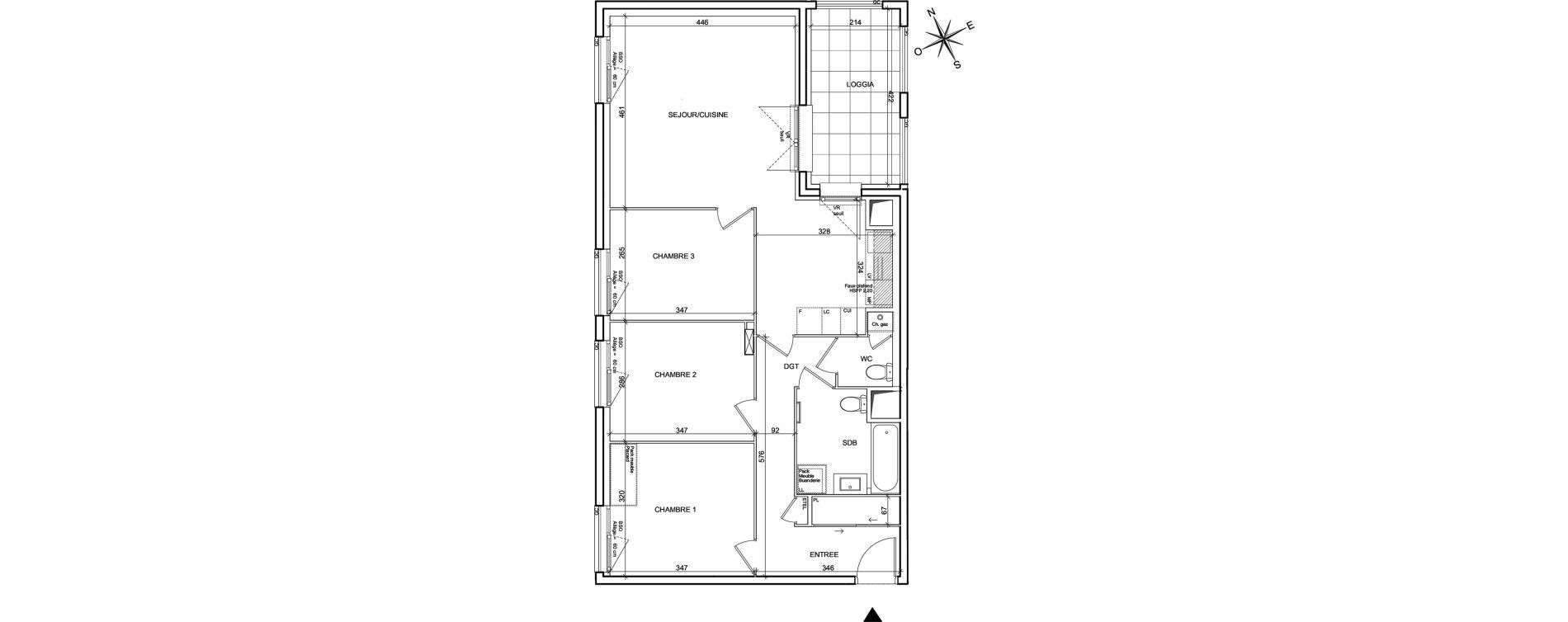 Appartement T4 de 79,06 m2 à Villeurbanne Poudrette les brosses