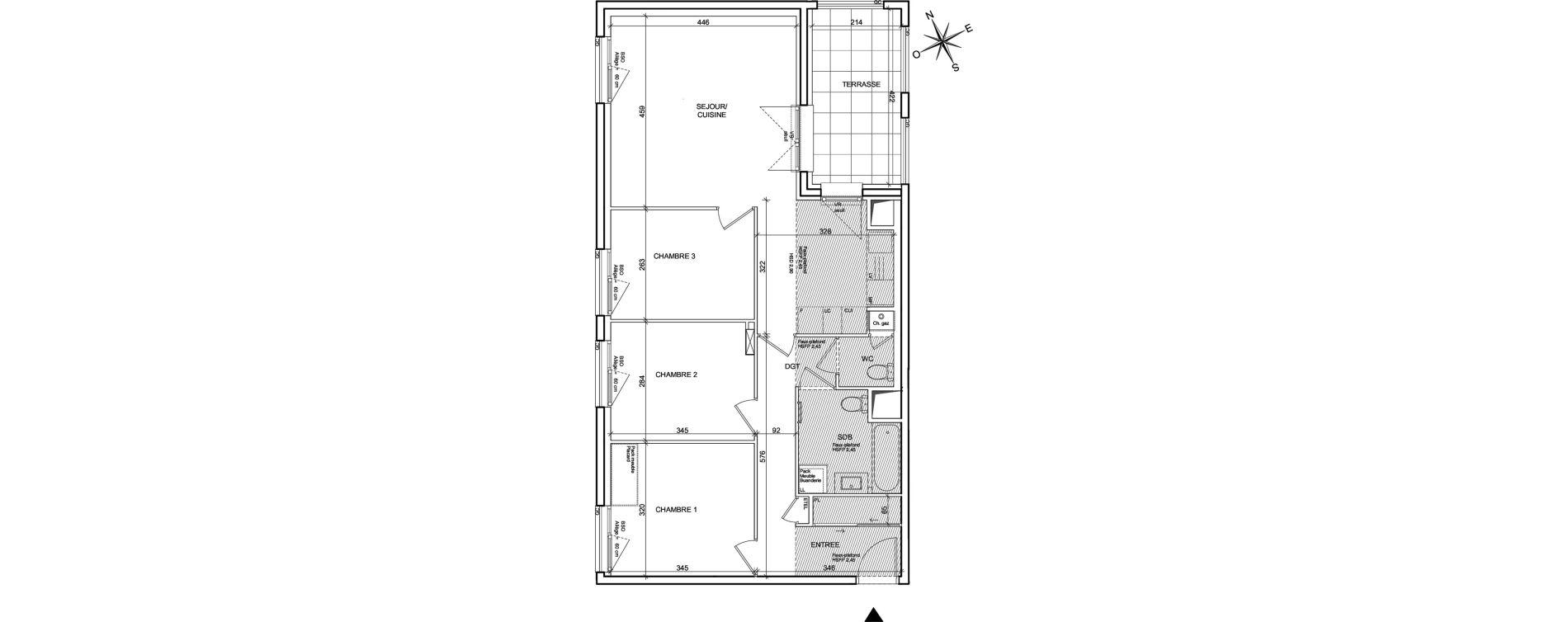 Appartement T4 de 78,46 m2 à Villeurbanne Poudrette les brosses