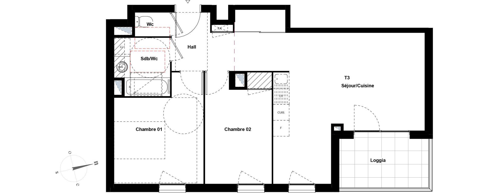 Appartement T3 de 60,84 m2 à Villeurbanne Gratte-ciel - dedieu - charmettes