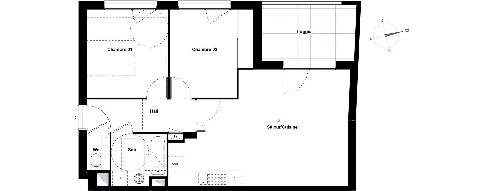 Appartement T3 de 62,32 m2 à Villeurbanne Gratte-ciel - dedieu - charmettes