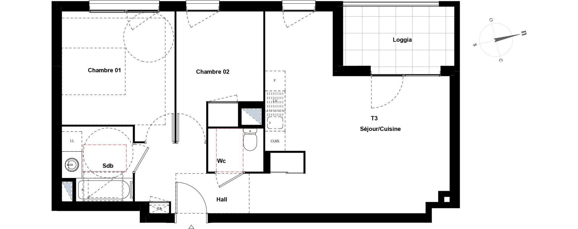 Appartement T3 de 60,14 m2 à Villeurbanne Gratte-ciel - dedieu - charmettes