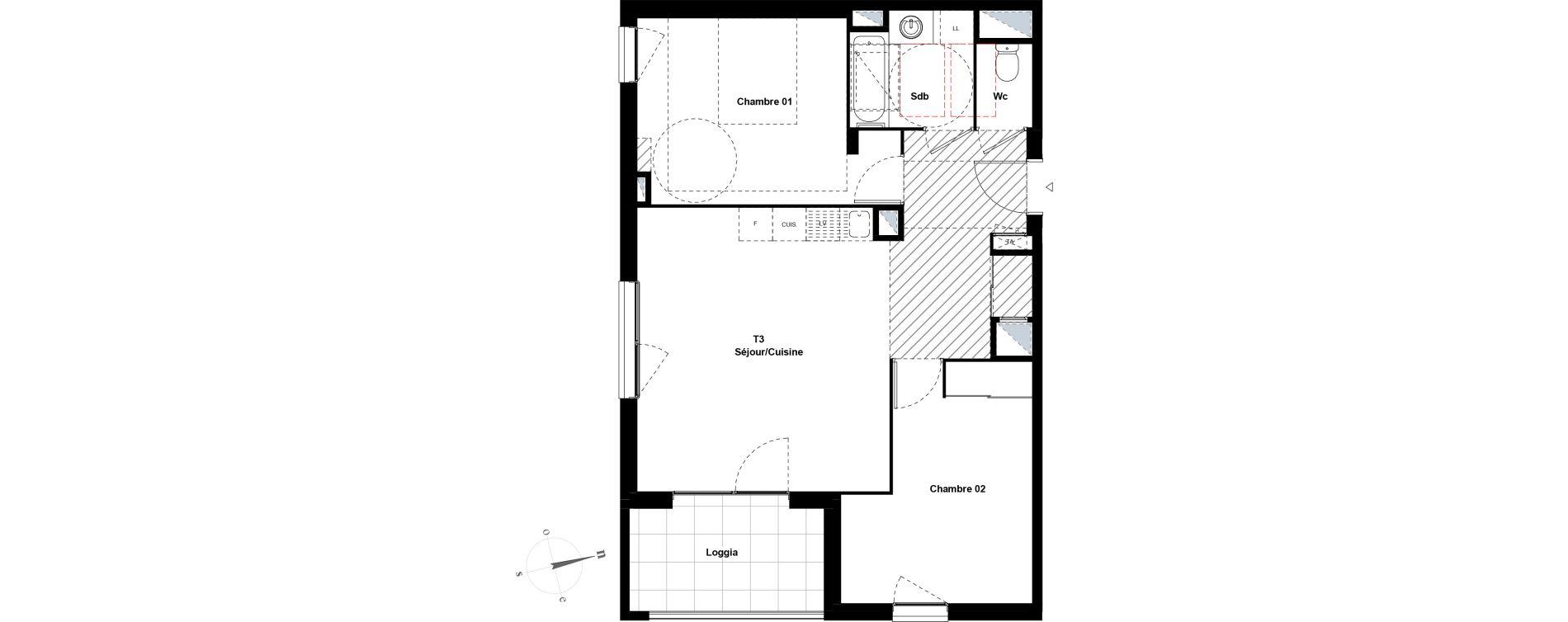 Appartement T3 de 63,85 m2 à Villeurbanne Gratte-ciel - dedieu - charmettes