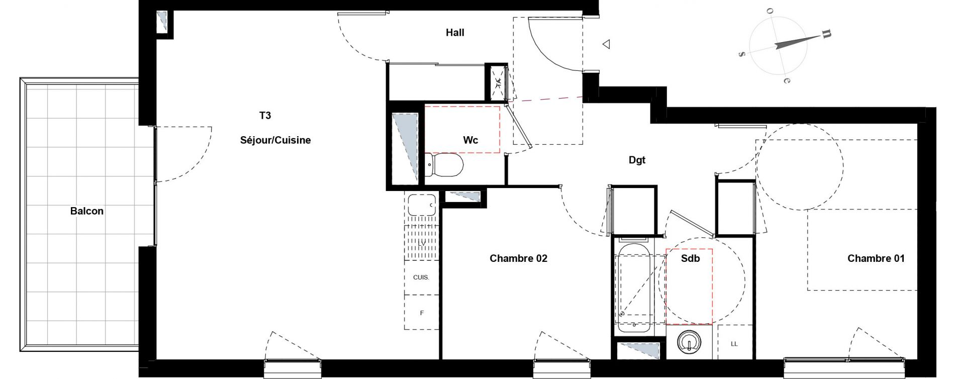Appartement T3 de 65,48 m2 à Villeurbanne Gratte-ciel - dedieu - charmettes