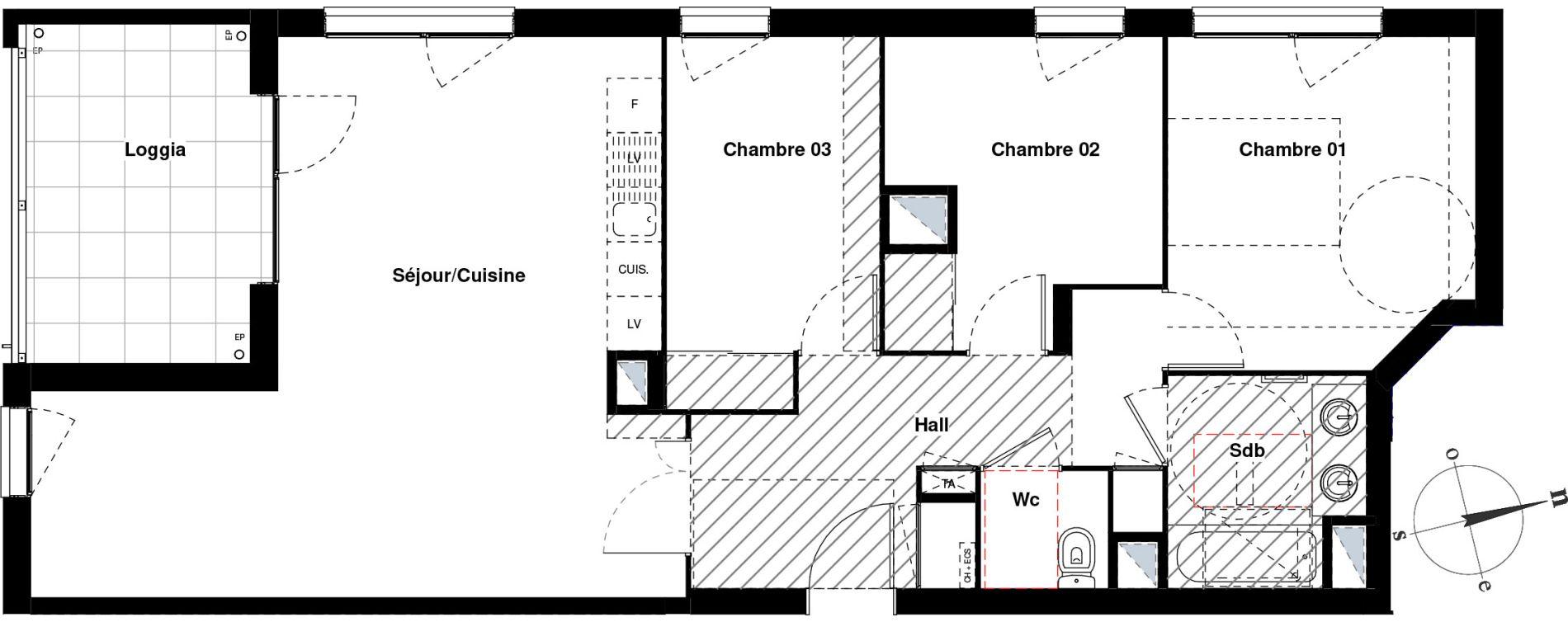 Appartement T4 de 79,83 m2 à Villeurbanne Gratte-ciel - dedieu - charmettes