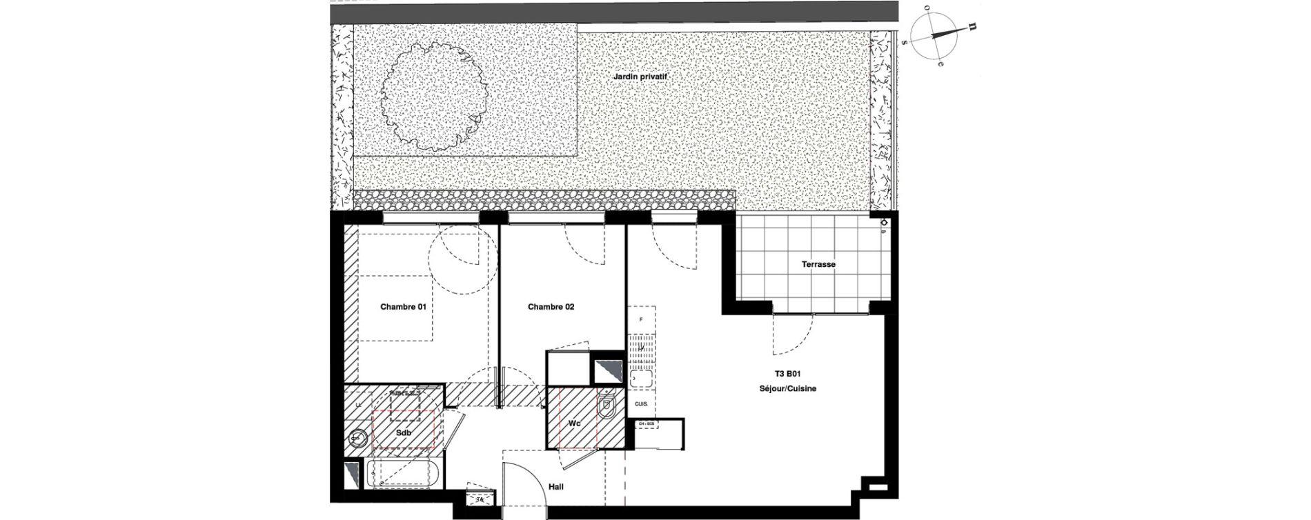 Appartement T3 de 60,03 m2 à Villeurbanne Gratte-ciel - dedieu - charmettes