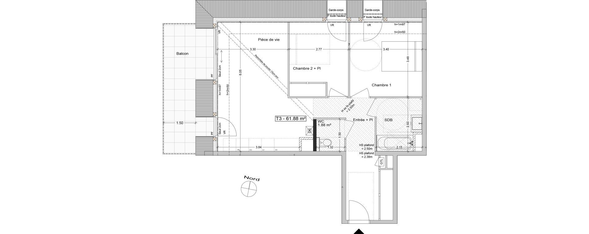 Appartement T3 de 61,88 m2 à Aix-Les-Bains Centre