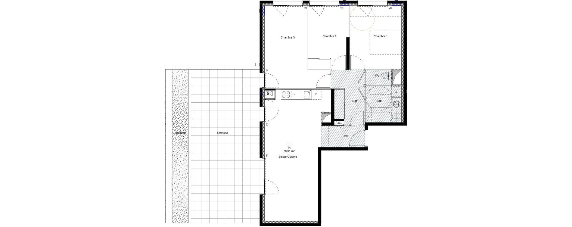 Appartement T4 de 78,01 m2 à Chambéry Centre