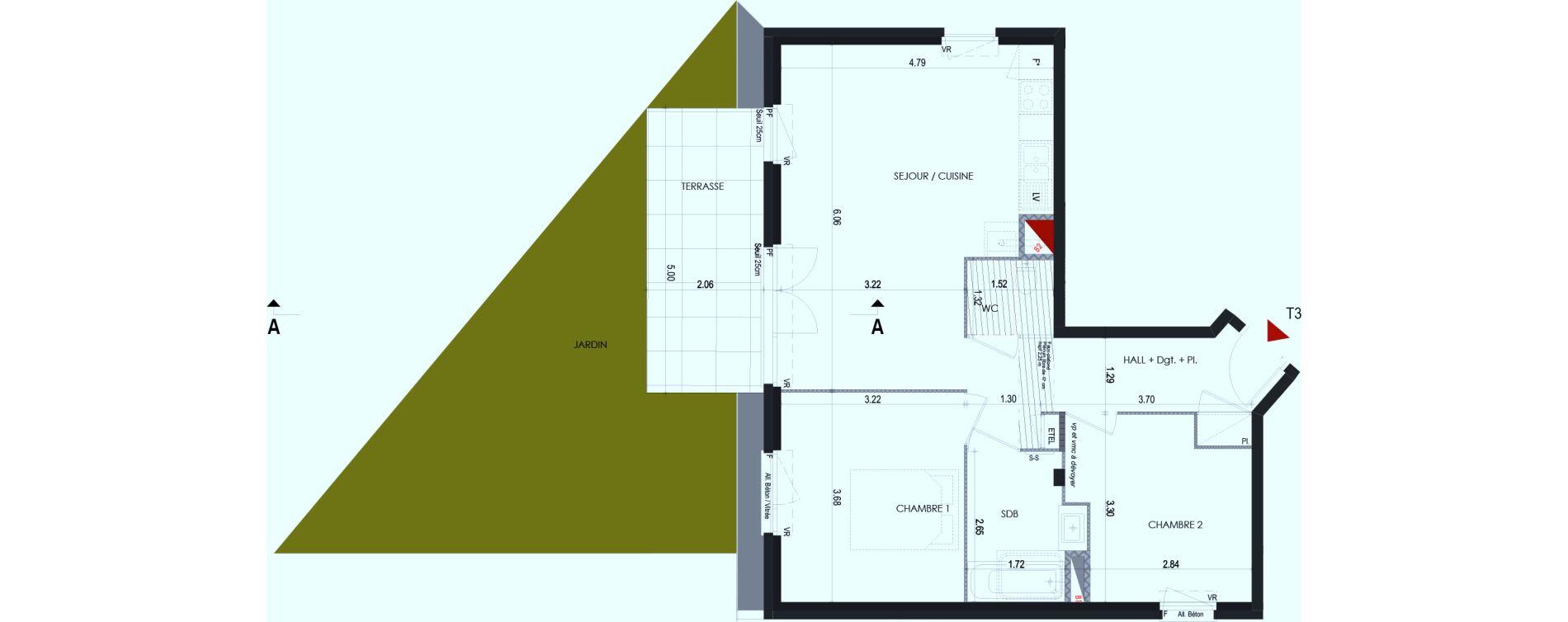 Appartement T3 de 61,31 m2 à Cognin Centre