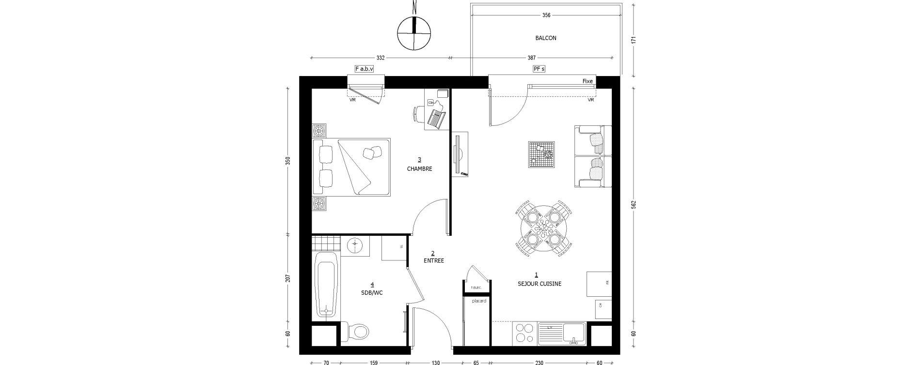 Appartement T2 de 43,36 m2 à Saint-Baldoph Centre