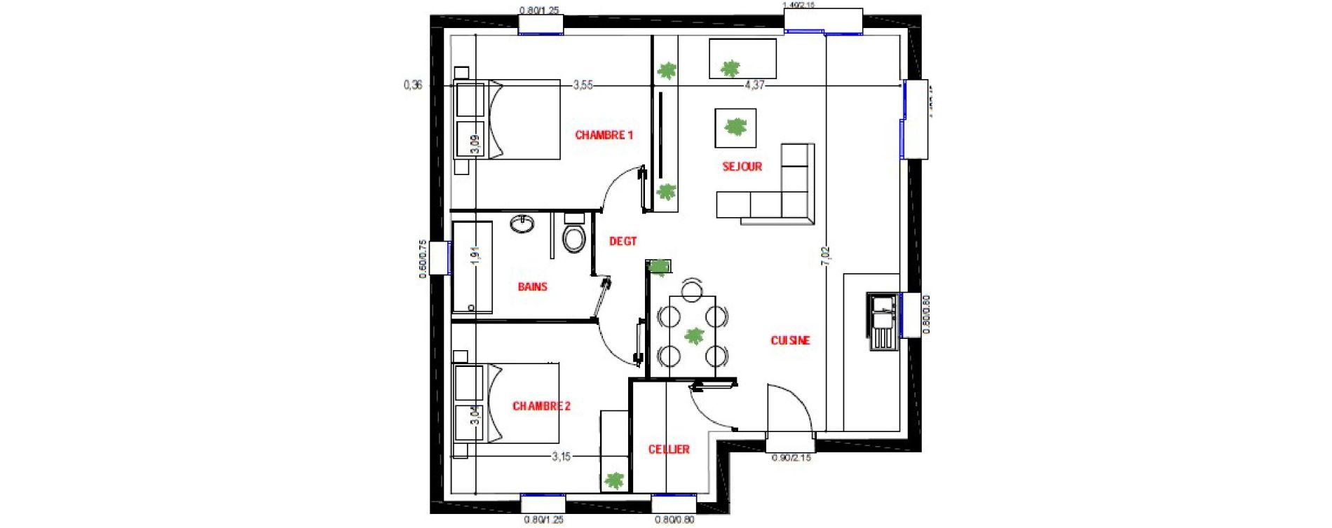 Maison T3 de 60,01 m2 à Brélès Kerveuleugant