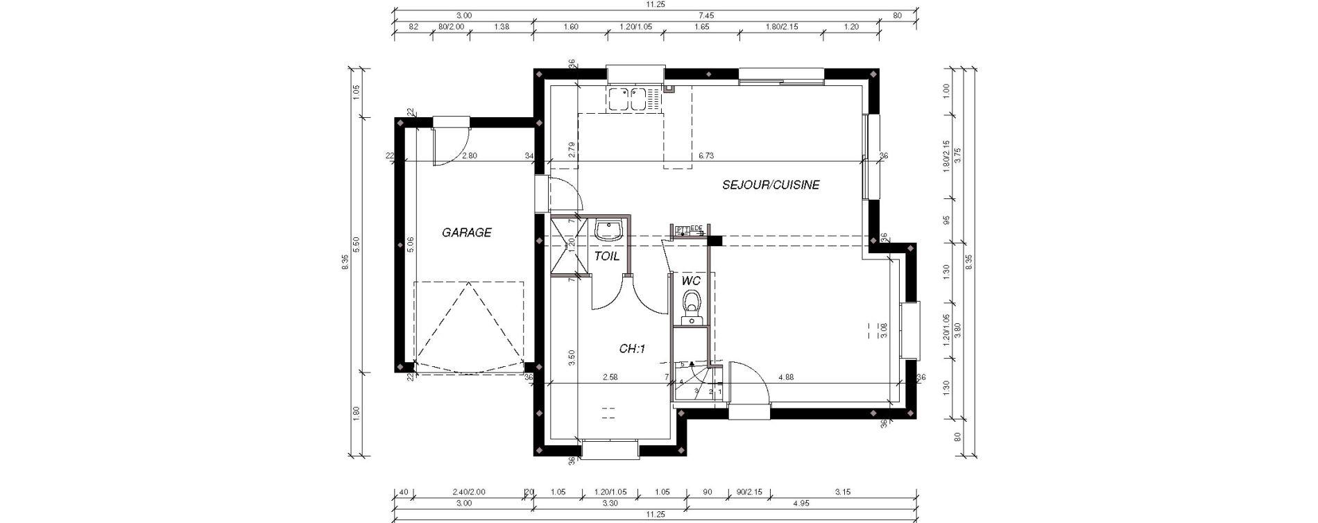 Maison T5 de 76,86 m2 à Brélès Kerveuleugant