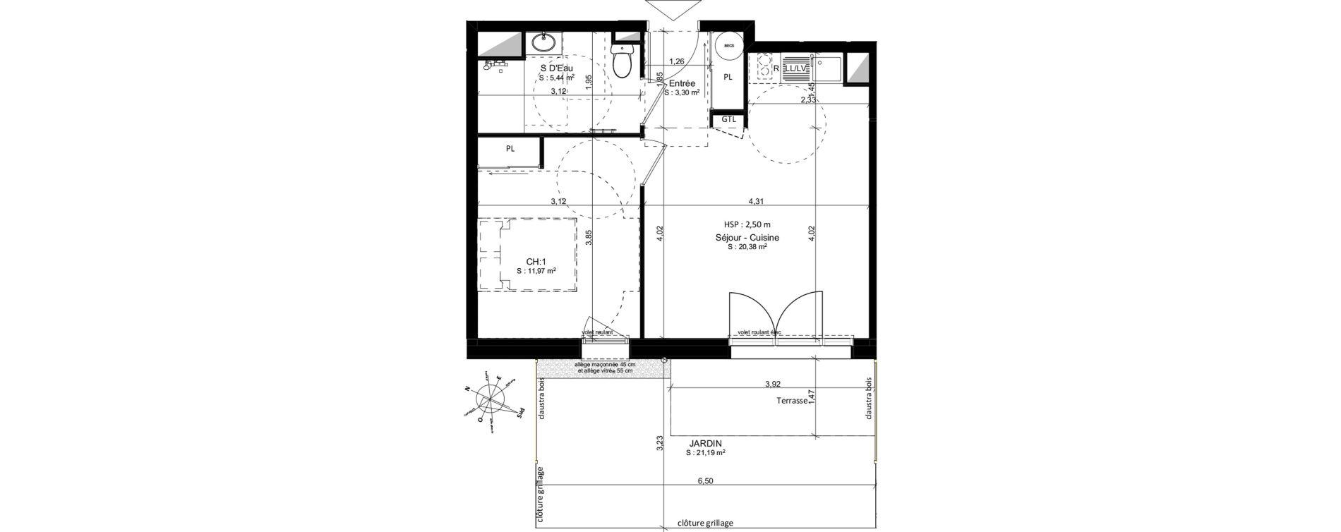 Appartement T2 de 41,09 m2 à Douarnenez Douarnenez centre