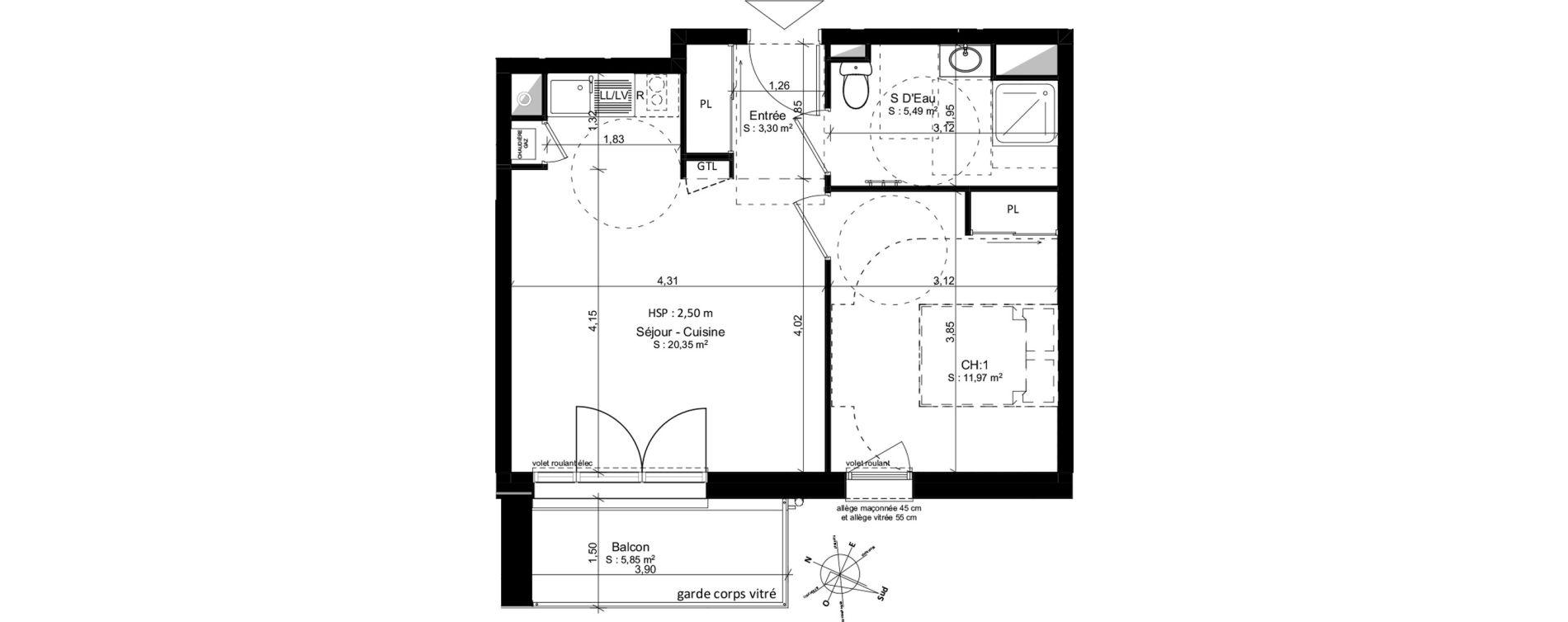Appartement T2 de 41,12 m2 à Douarnenez Douarnenez centre