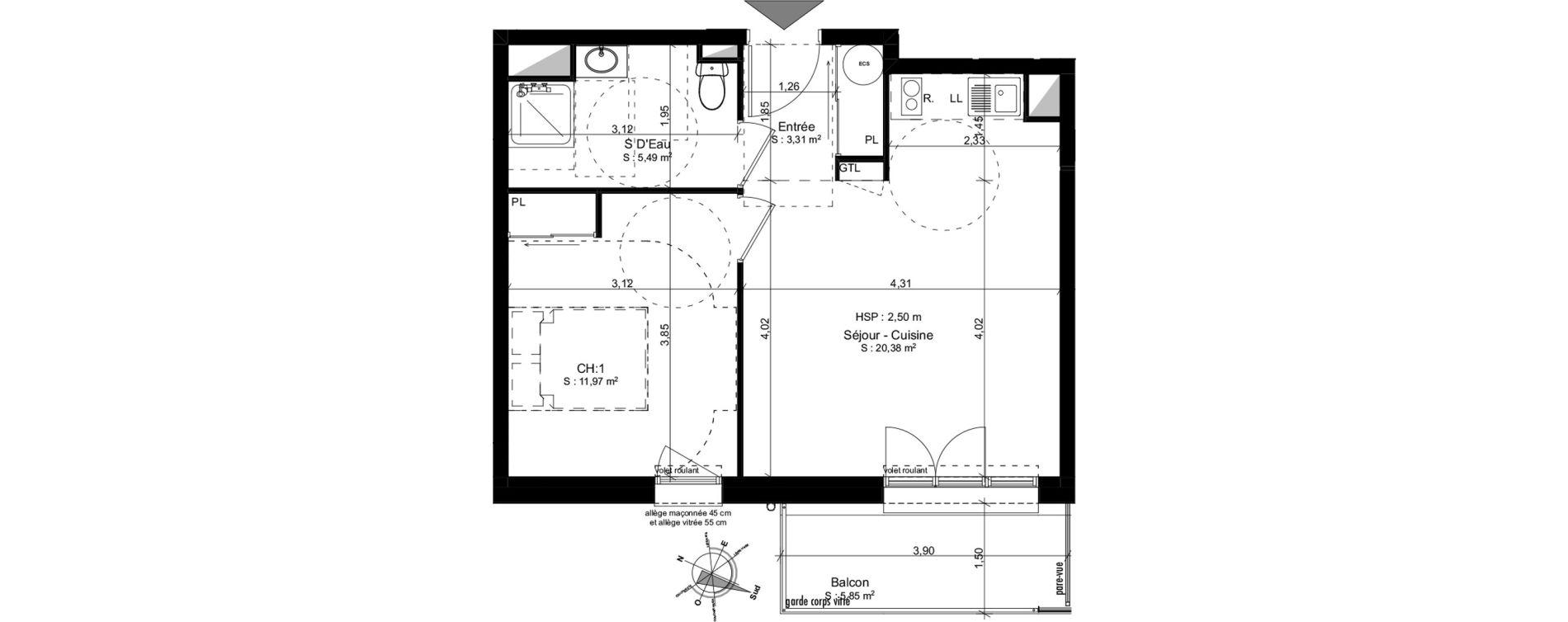 Appartement T2 de 41,15 m2 à Douarnenez Douarnenez centre
