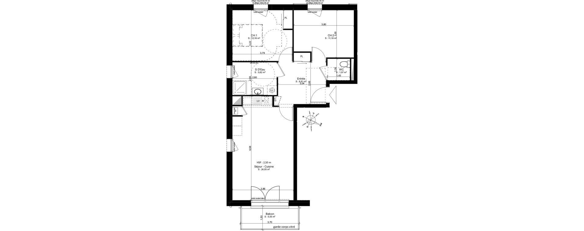 Appartement T3 de 64,01 m2 à Douarnenez Douarnenez centre