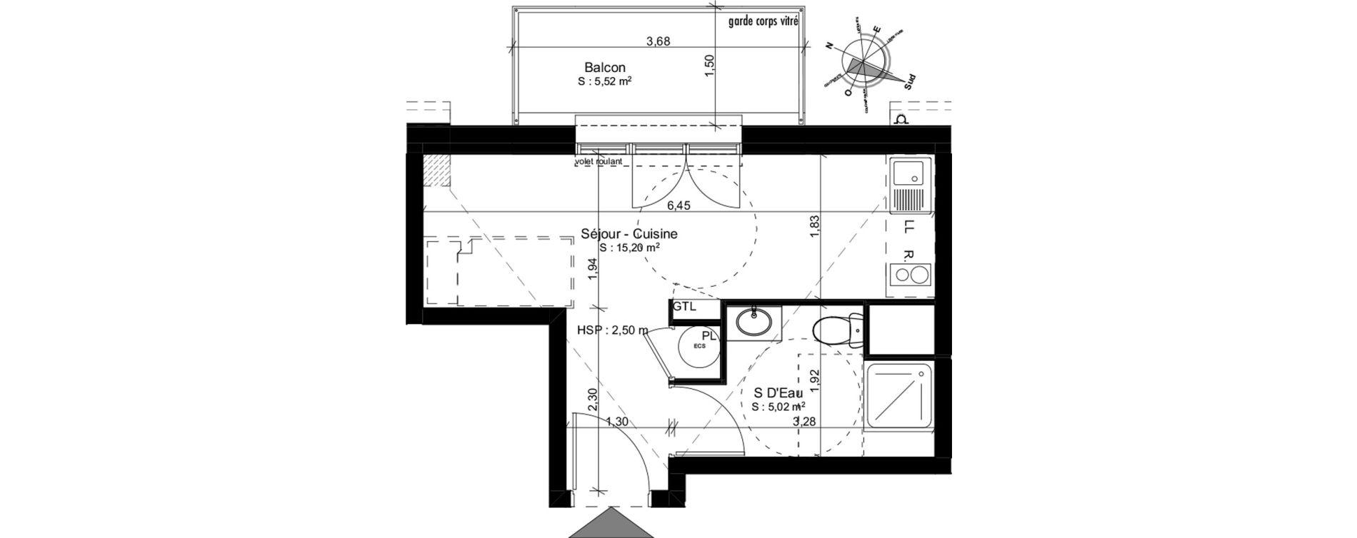 Appartement T1 de 20,22 m2 à Douarnenez Douarnenez centre