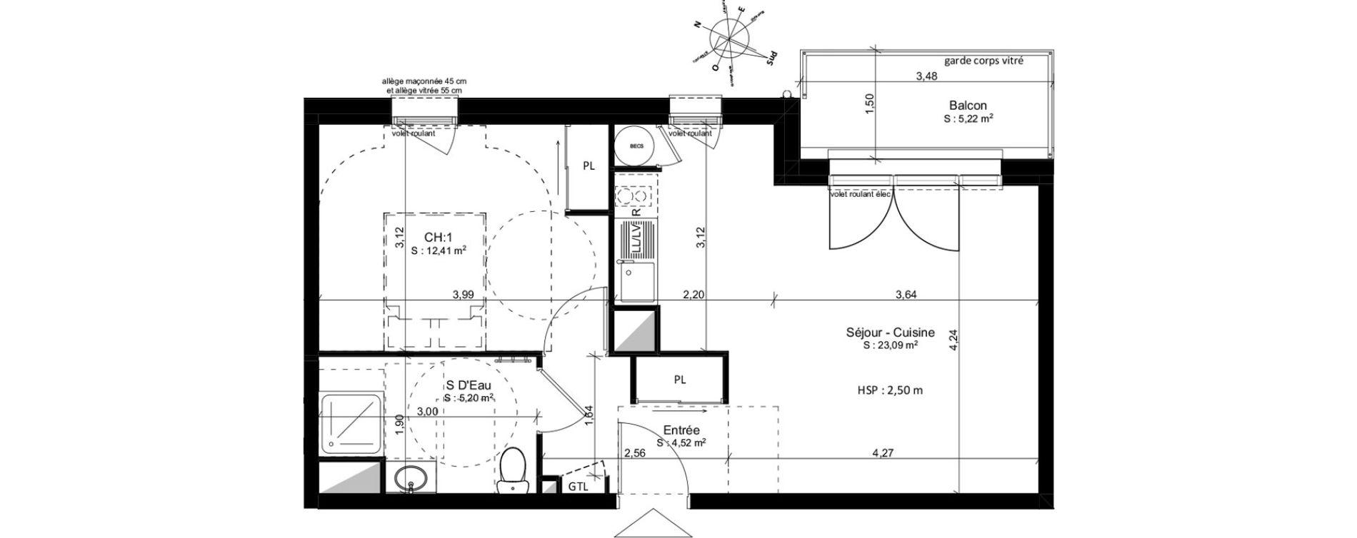 Appartement T2 de 45,25 m2 à Douarnenez Douarnenez centre