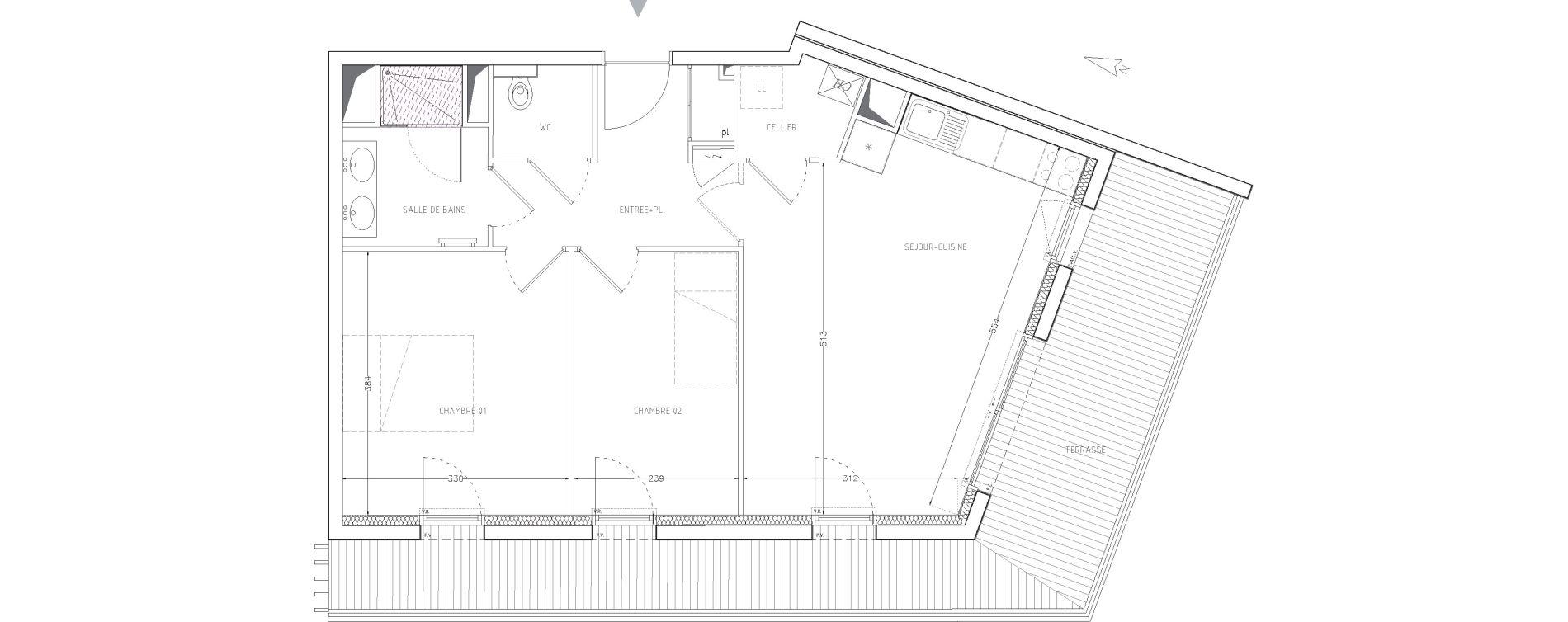 Appartement T3 de 60,55 m2 à Guilers Centre