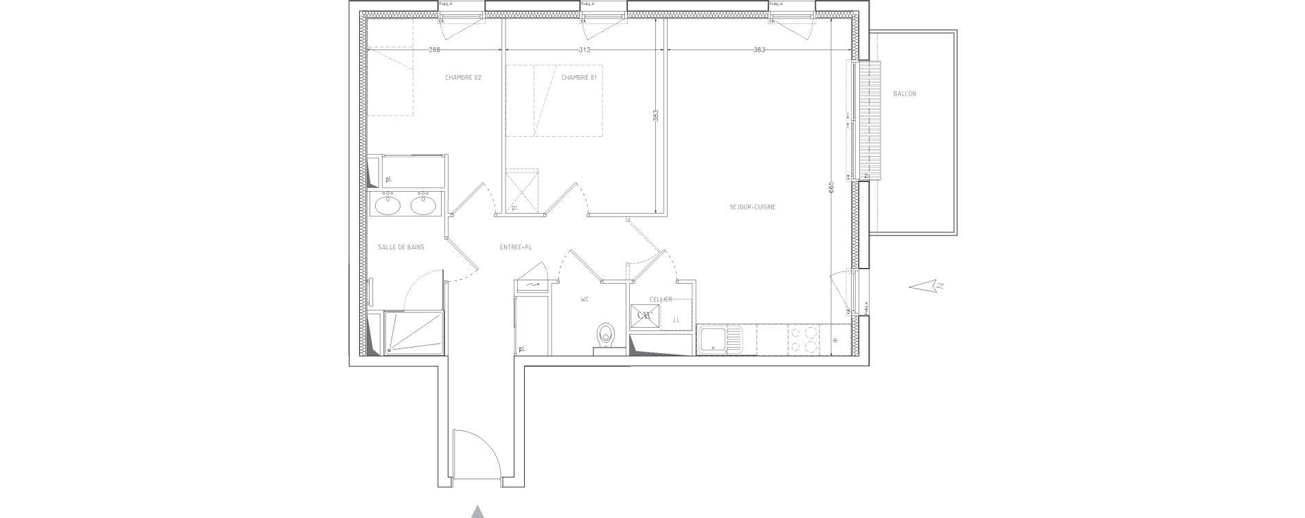 Appartement T3 de 63,50 m2 à Guilers Centre