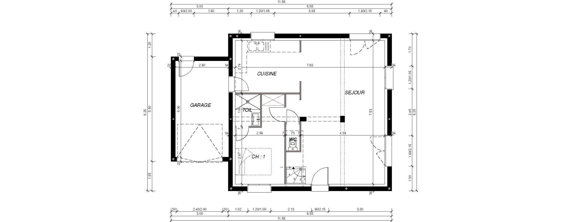 Maison T5 de 92,82 m2 à Loperhet Loperhet gare