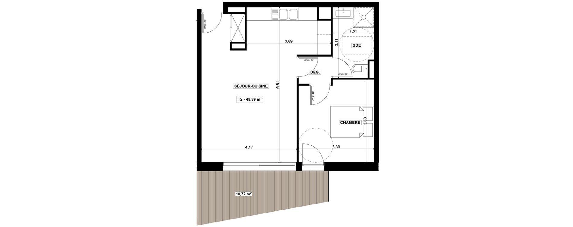 Appartement T2 de 48,89 m2 à Quimper Centre