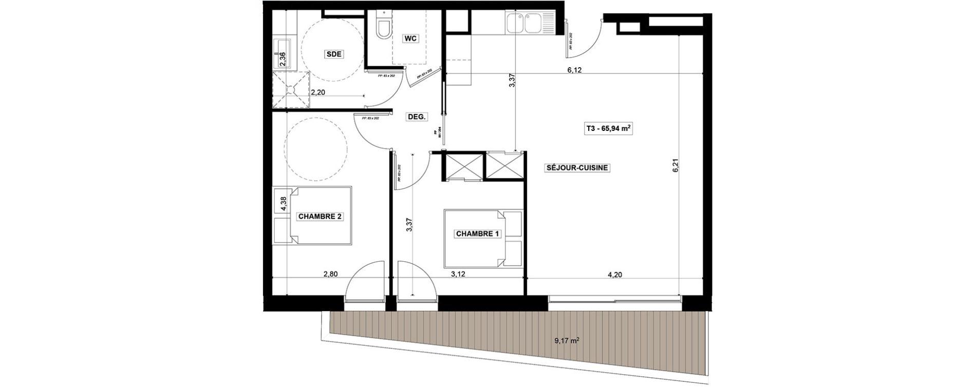Appartement T3 de 65,94 m2 à Quimper Centre