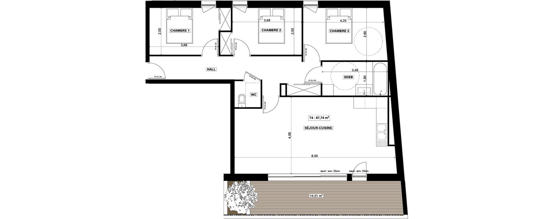 Appartement T4 de 86,74 m2 à Quimper Centre
