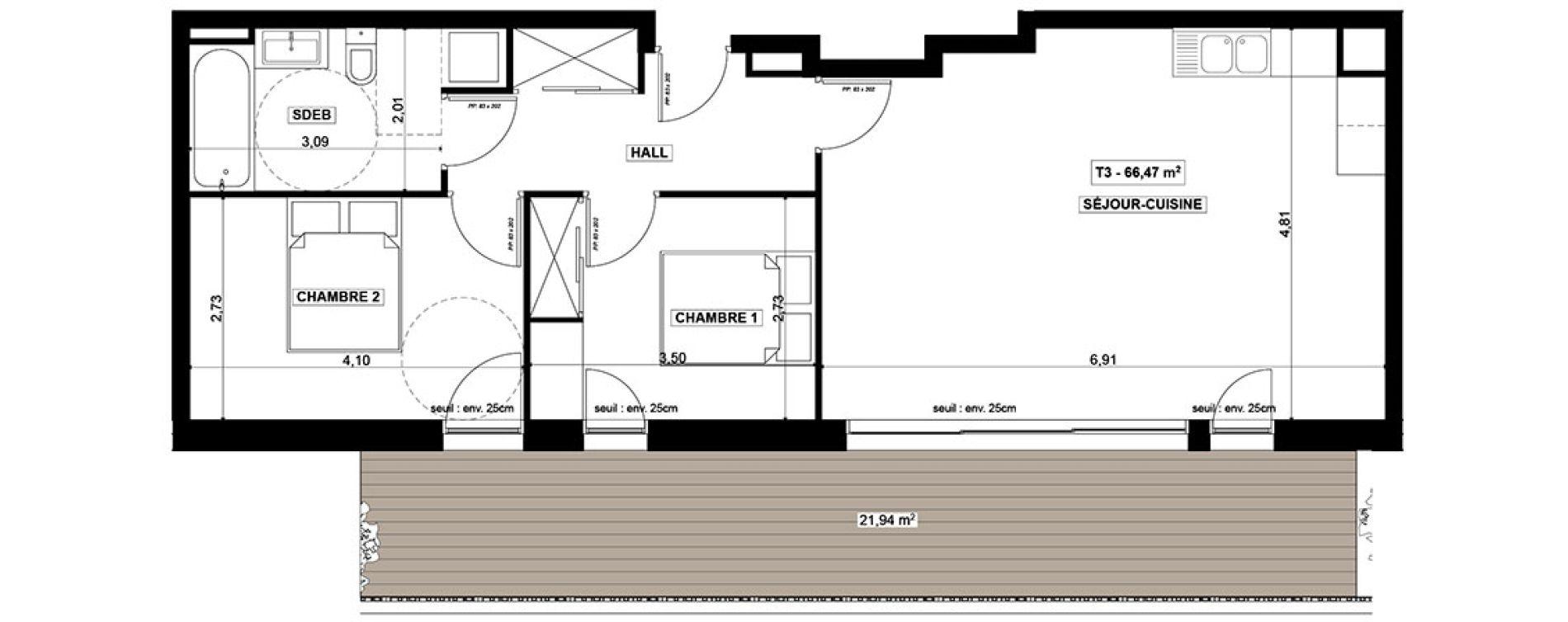 Appartement T3 de 66,47 m2 à Quimper Centre