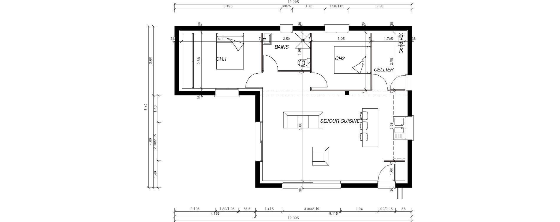 Maison T3 de 67,62 m2 à Saint-Pol-De-Léon Centre