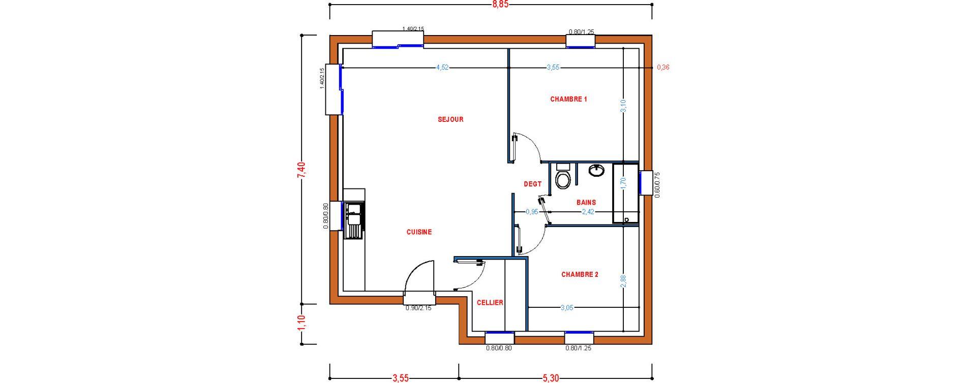 Maison T3 de 58,17 m2 à Saint-Pol-De-Léon Centre