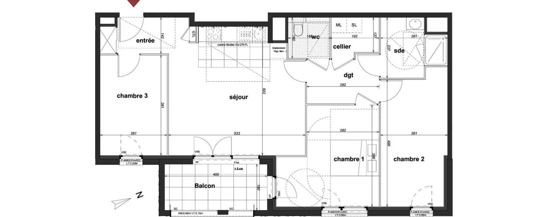 Appartement T4 de 81,20 m2 à Cancale Centre